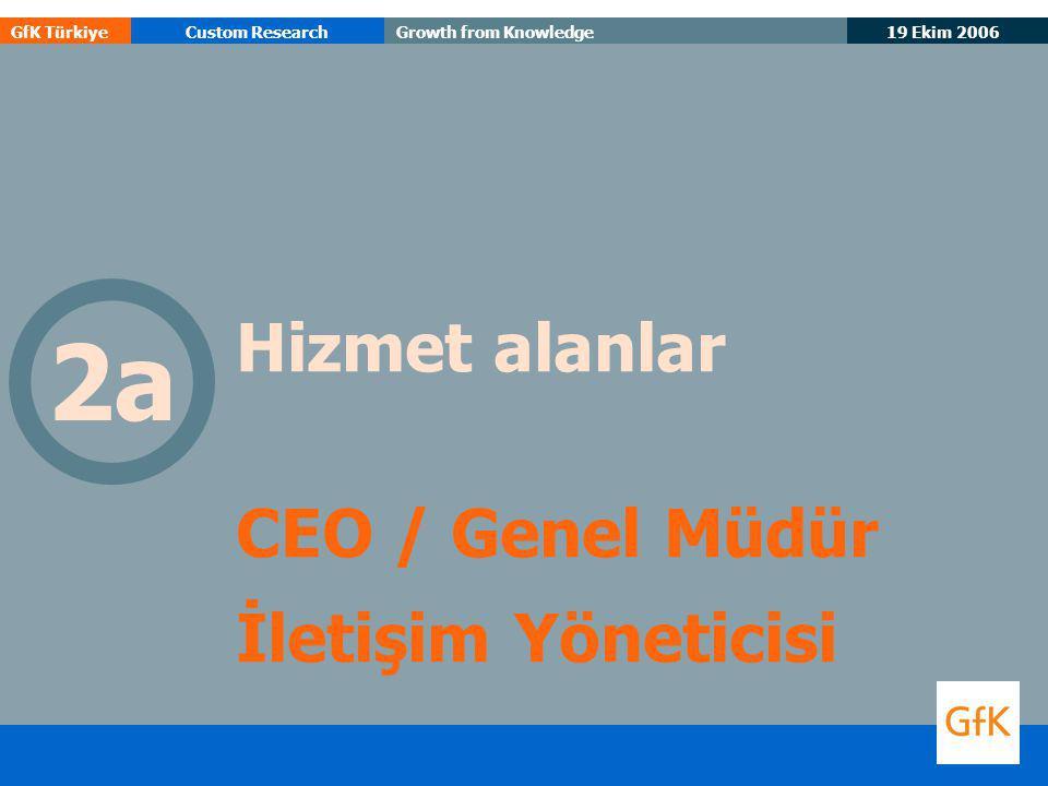 19 Ekim 2006 GfK TürkiyeCustom ResearchGrowth from Knowledge Hizmet alanlar CEO / Genel Müdür İletişim Yöneticisi 2a