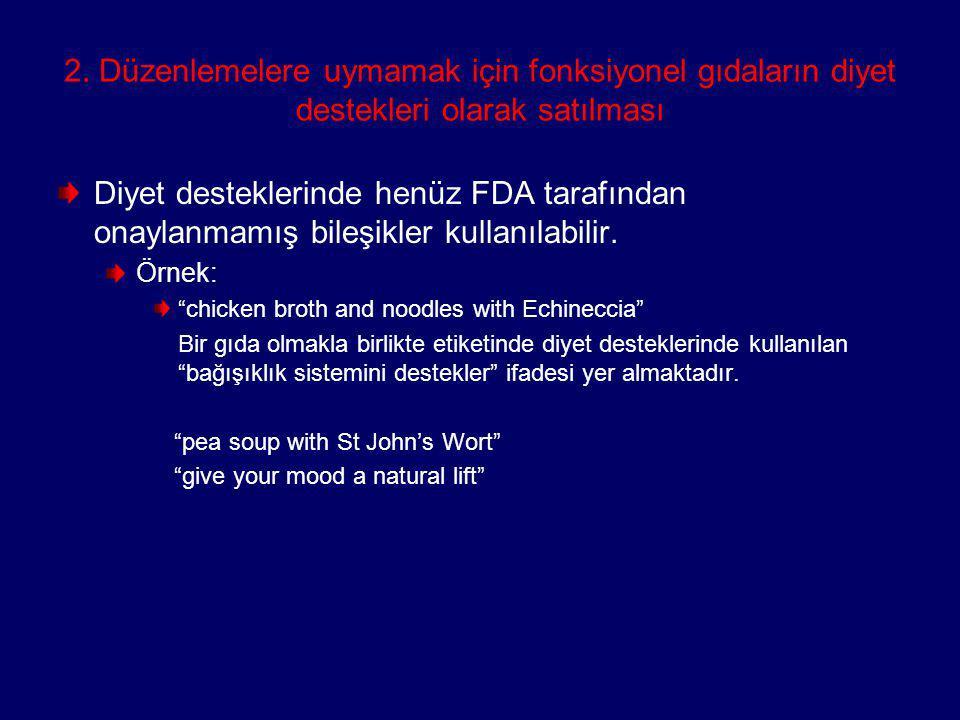 2. Düzenlemelere uymamak için fonksiyonel gıdaların diyet destekleri olarak satılması Diyet desteklerinde henüz FDA tarafından onaylanmamış bileşikler