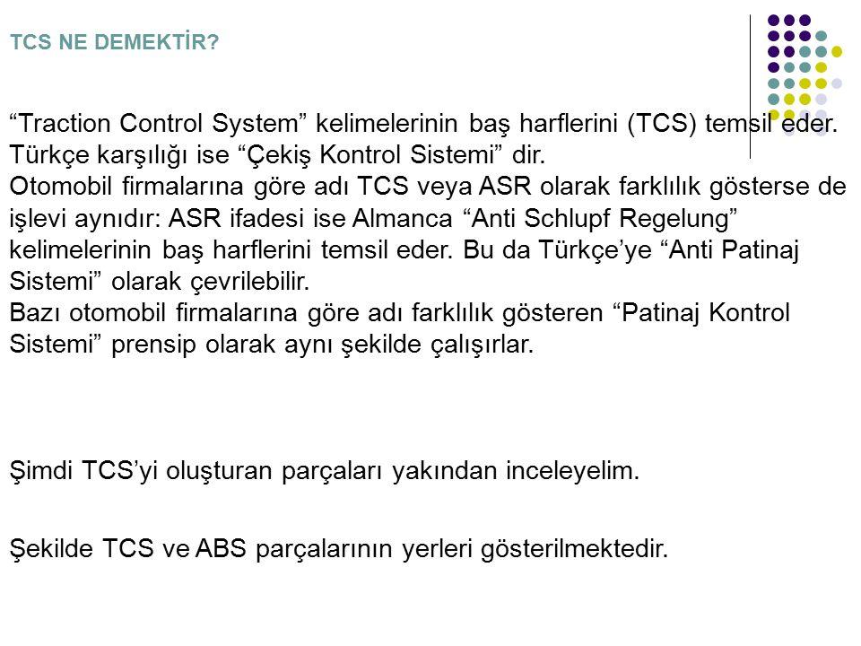 """TCS NE DEMEKTİR? """"Traction Control System"""" kelimelerinin baş harflerini (TCS) temsil eder. Türkçe karşılığı ise """"Çekiş Kontrol Sistemi"""" dir. Otomobil"""