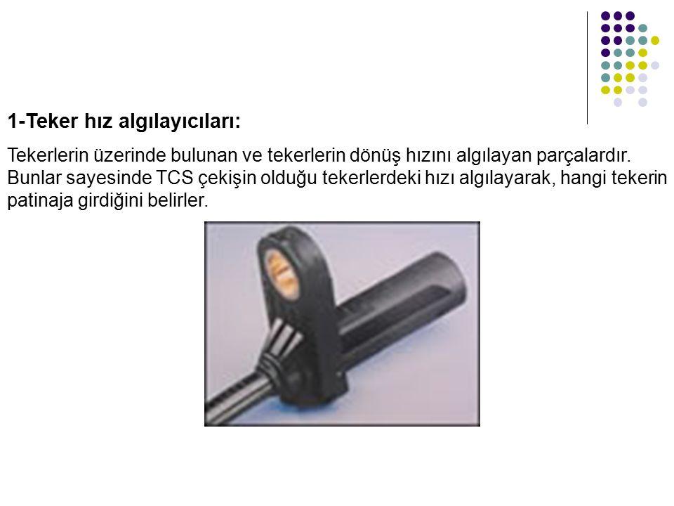 1-Teker hız algılayıcıları: Tekerlerin üzerinde bulunan ve tekerlerin dönüş hızını algılayan parçalardır. Bunlar sayesinde TCS çekişin olduğu tekerler