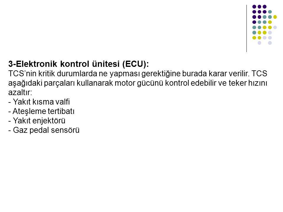 3-Elektronik kontrol ünitesi (ECU): TCS'nin kritik durumlarda ne yapması gerektiğine burada karar verilir. TCS aşağıdaki parçaları kullanarak motor gü