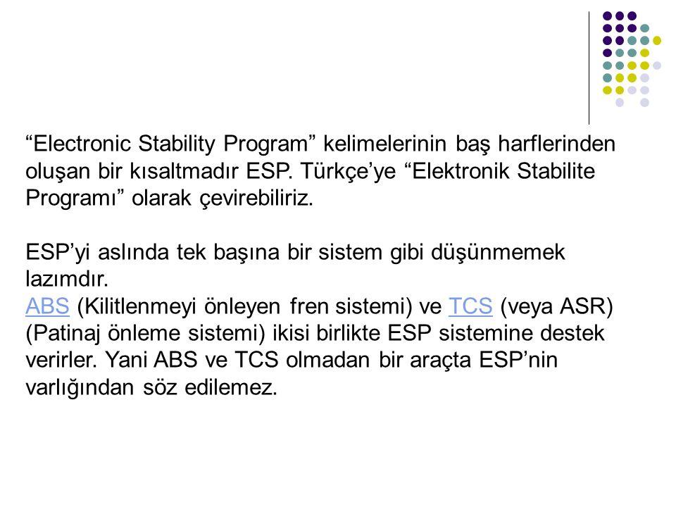 """""""Electronic Stability Program"""" kelimelerinin baş harflerinden oluşan bir kısaltmadır ESP. Türkçe'ye """"Elektronik Stabilite Programı"""" olarak çevirebilir"""