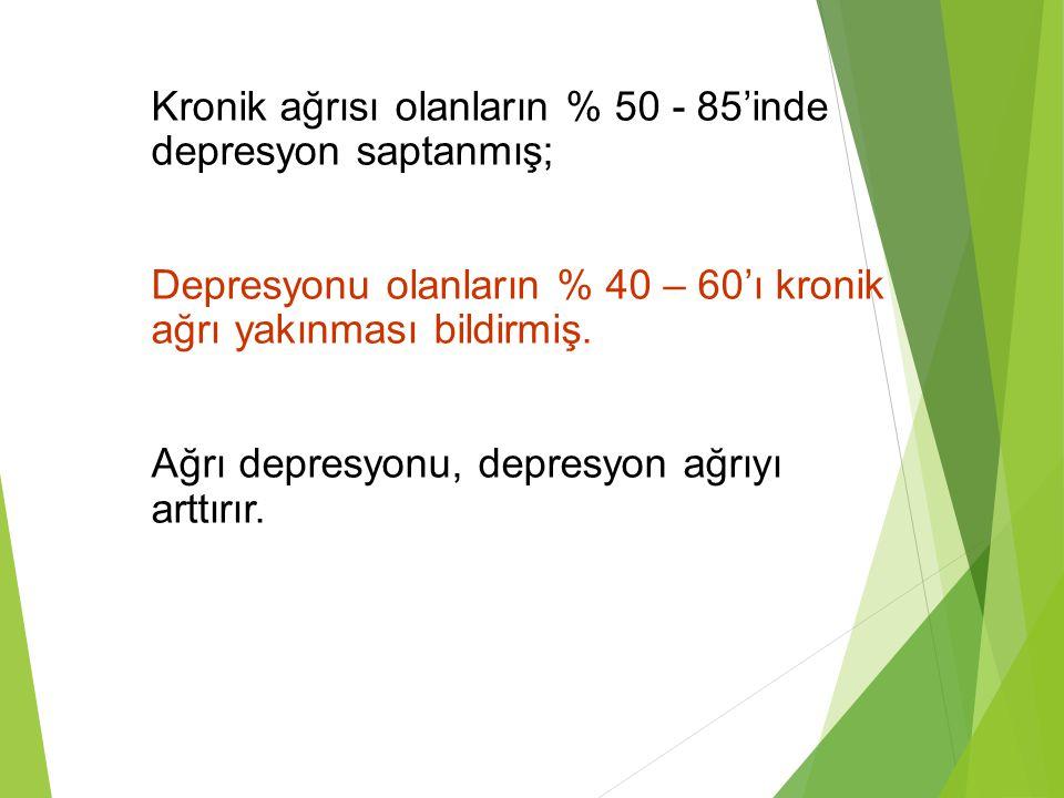 Kronik ağrısı olanların % 50 - 85'inde depresyon saptanmış; Depresyonu olanların % 40 – 60'ı kronik ağrı yakınması bildirmiş. Ağrı depresyonu, depresy