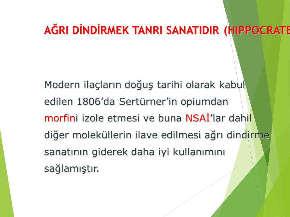 AĞRI DİNDİRMEK TANRI SANATIDIR (HIPPOCRATES) Modern ilaçların doğuş tarihi olarak kabul edilen 1806'da Sertürner'in opiumdan morfini izole etmesi ve b