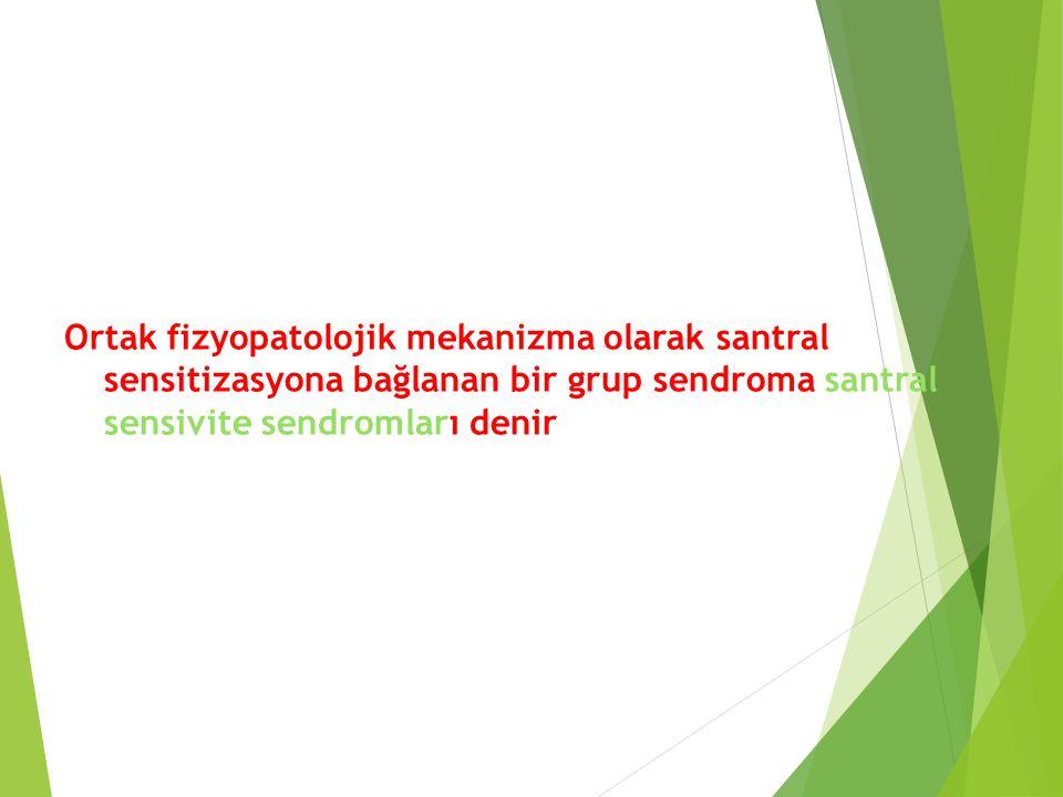 Ortak fizyopatolojik mekanizma olarak santral sensitizasyona bağlanan bir grup sendroma santral sensivite sendromları denir
