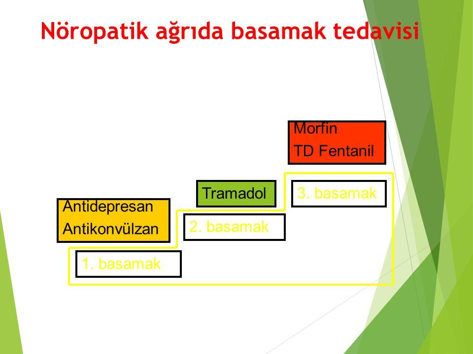 Nöropatik ağrıda basamak tedavisi 1. basamak 2. basamak 3. basamak Antidepresan Antikonvülzan Tramadol Morfin TD Fentanil