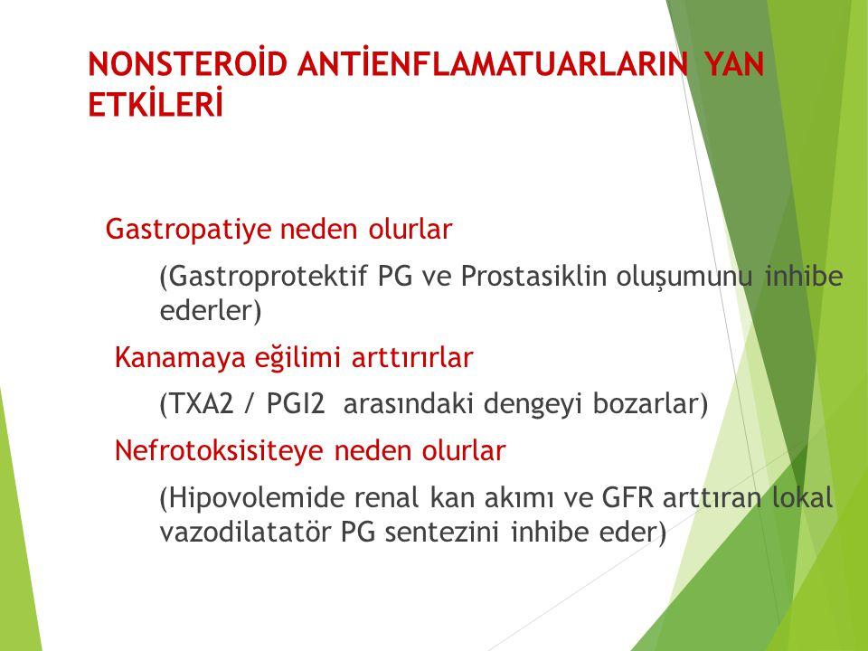 NONSTEROİD ANTİENFLAMATUARLARIN YAN ETKİLERİ Gastropatiye neden olurlar (Gastroprotektif PG ve Prostasiklin oluşumunu inhibe ederler) Kanamaya eğilimi