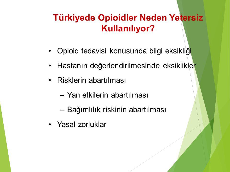 Türkiyede Opioidler Neden Yetersiz Kullanılıyor? Opioid tedavisi konusunda bilgi eksikliği Hastanın değerlendirilmesinde eksiklikler Risklerin abartıl