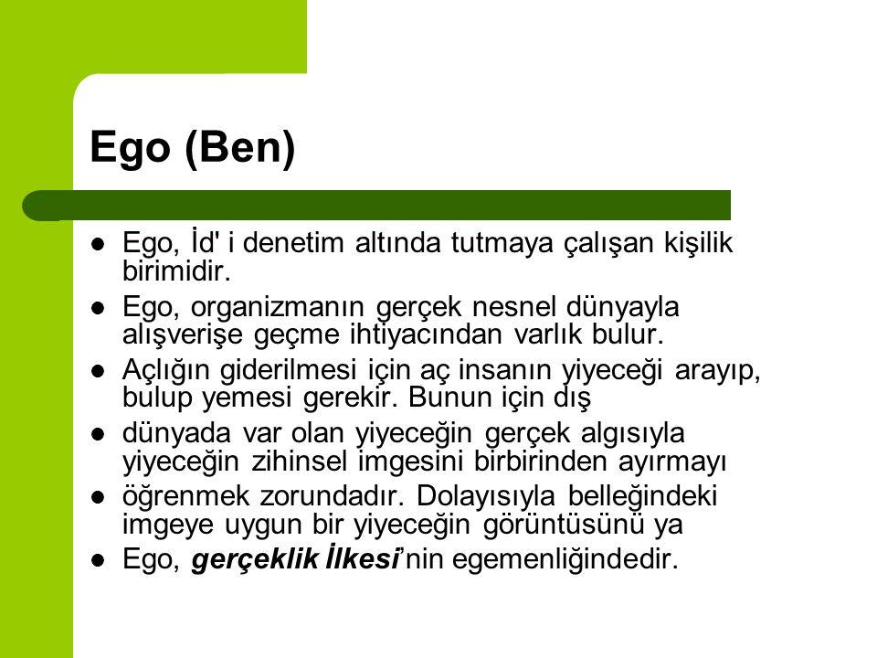 Ego (Ben) Ego, İd' i denetim altında tutmaya çalışan kişilik birimidir. Ego, organizmanın gerçek nesnel dünyayla alışverişe geçme ihtiyacından varlık
