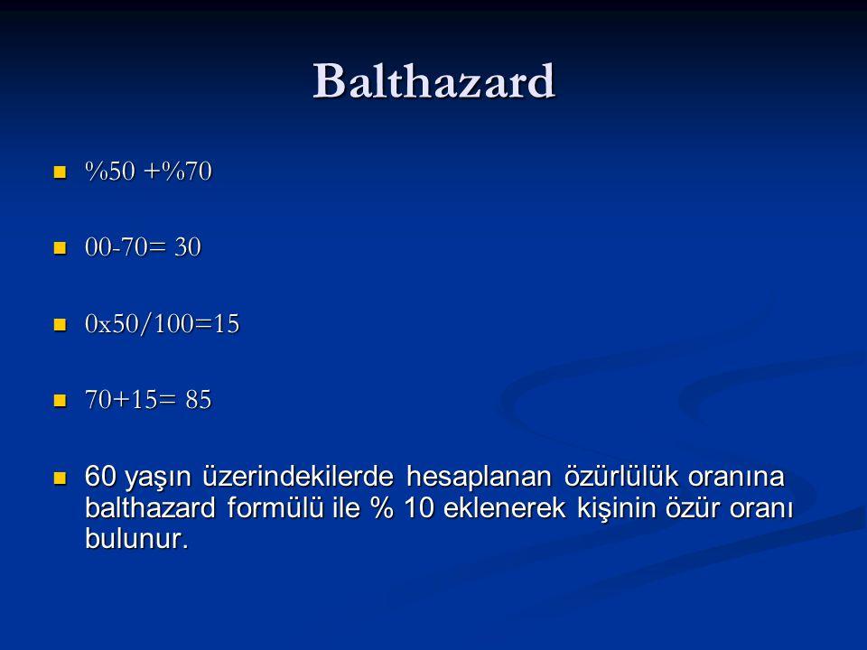Balthazard %50 +%70 %50 +%70 00-70= 30 00-70= 30 0x50/100=15 0x50/100=15 70+15= 85 70+15= 85 60 yaşın üzerindekilerde hesaplanan özürlülük oranına balthazard formülü ile % 10 eklenerek kişinin özür oranı bulunur.
