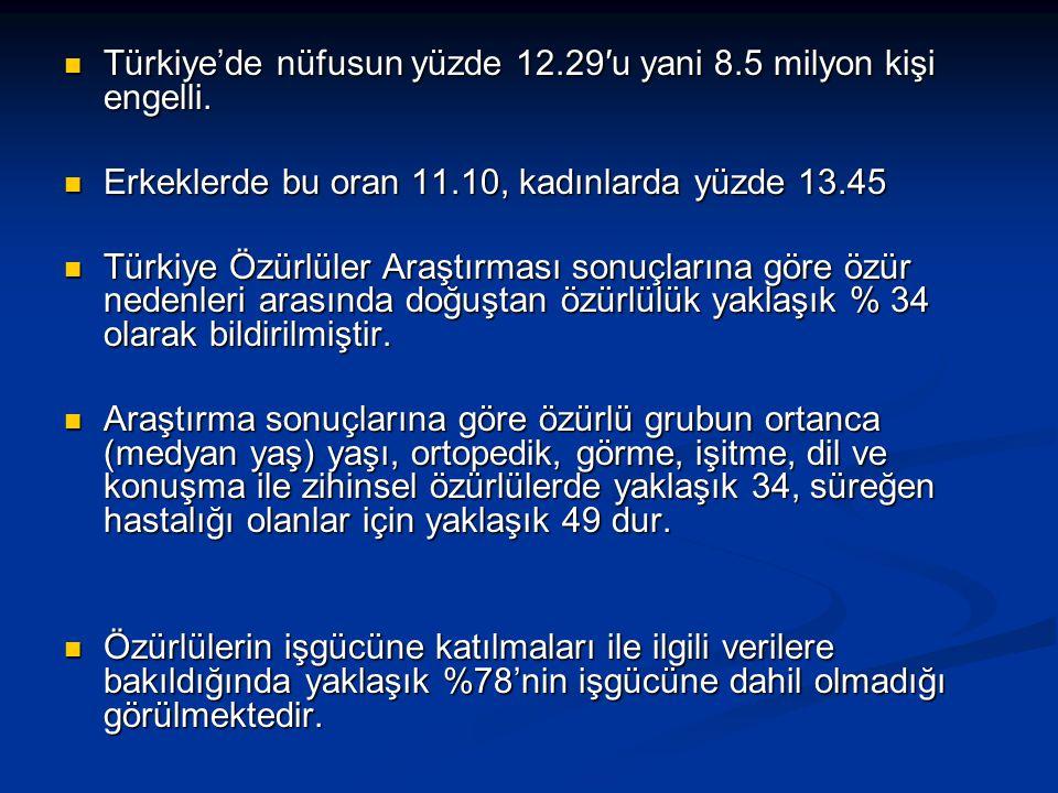 Türkiye'de nüfusun yüzde 12.29′u yani 8.5 milyon kişi engelli.