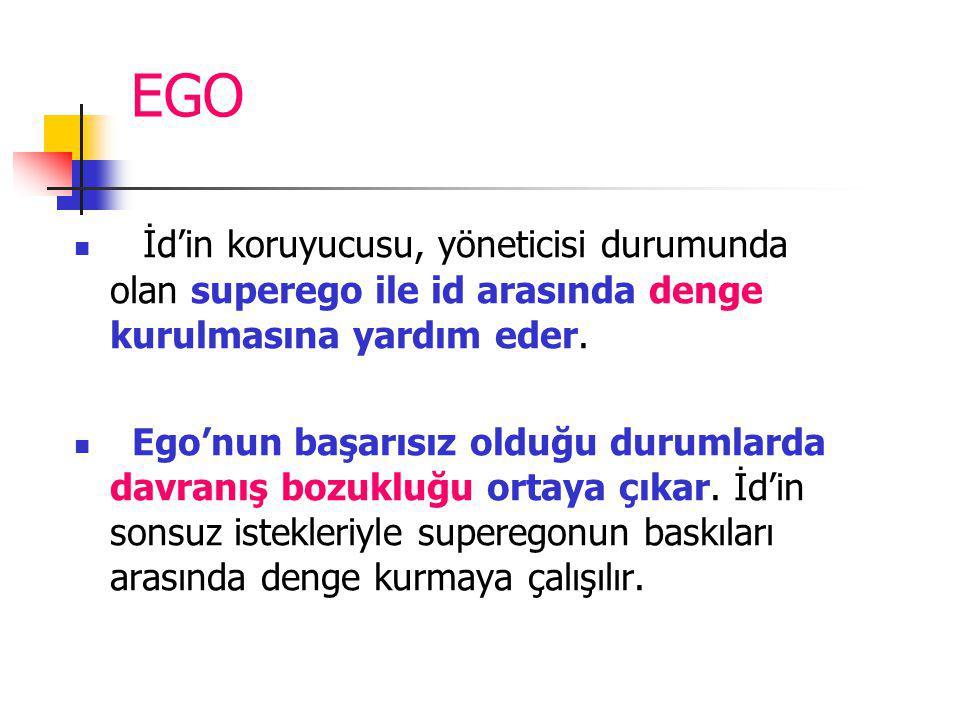 EGO İd'in koruyucusu, yöneticisi durumunda olan superego ile id arasında denge kurulmasına yardım eder. Ego'nun başarısız olduğu durumlarda davranış b