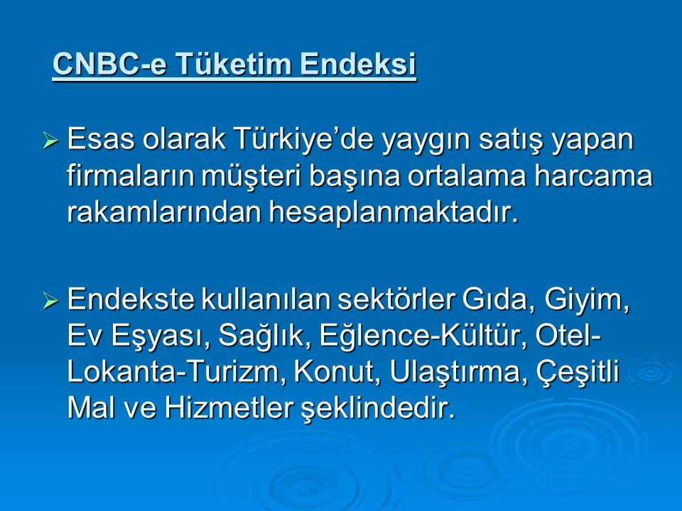 CNBC-e Tüketim Endeksi  Esas olarak Türkiye'de yaygın satış yapan firmaların müşteri başına ortalama harcama rakamlarından hesaplanmaktadır.  Endeks