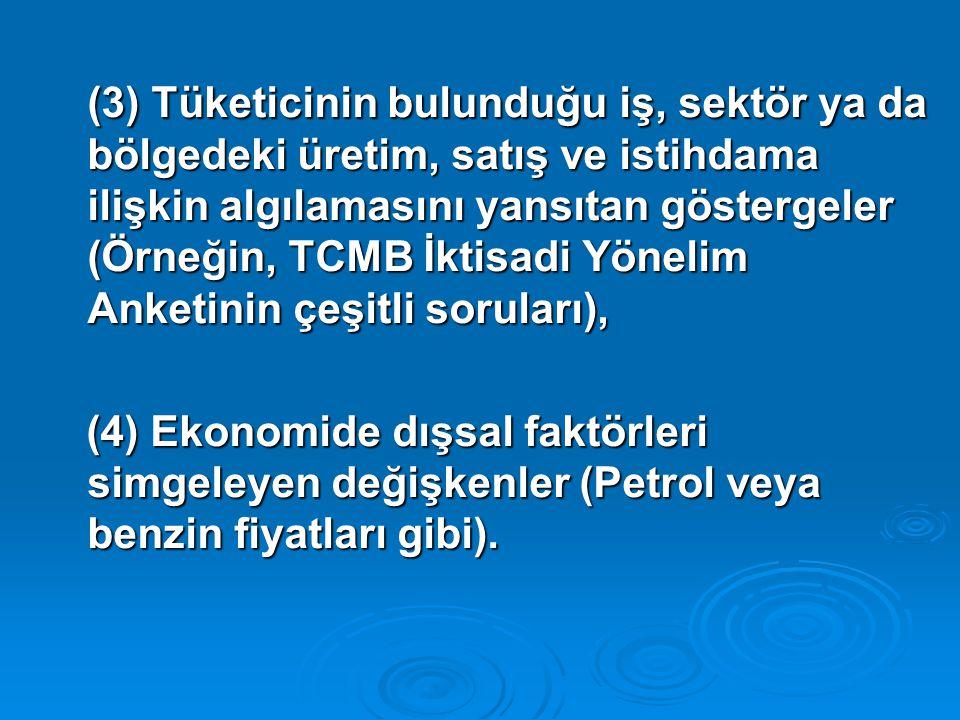 (3) Tüketicinin bulunduğu iş, sektör ya da bölgedeki üretim, satış ve istihdama ilişkin algılamasını yansıtan göstergeler (Örneğin, TCMB İktisadi Yöne