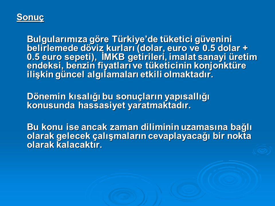 Sonuç Bulgularımıza göre Türkiye'de tüketici güvenini belirlemede döviz kurları (dolar, euro ve 0.5 dolar + 0.5 euro sepeti), İMKB getirileri, imalat