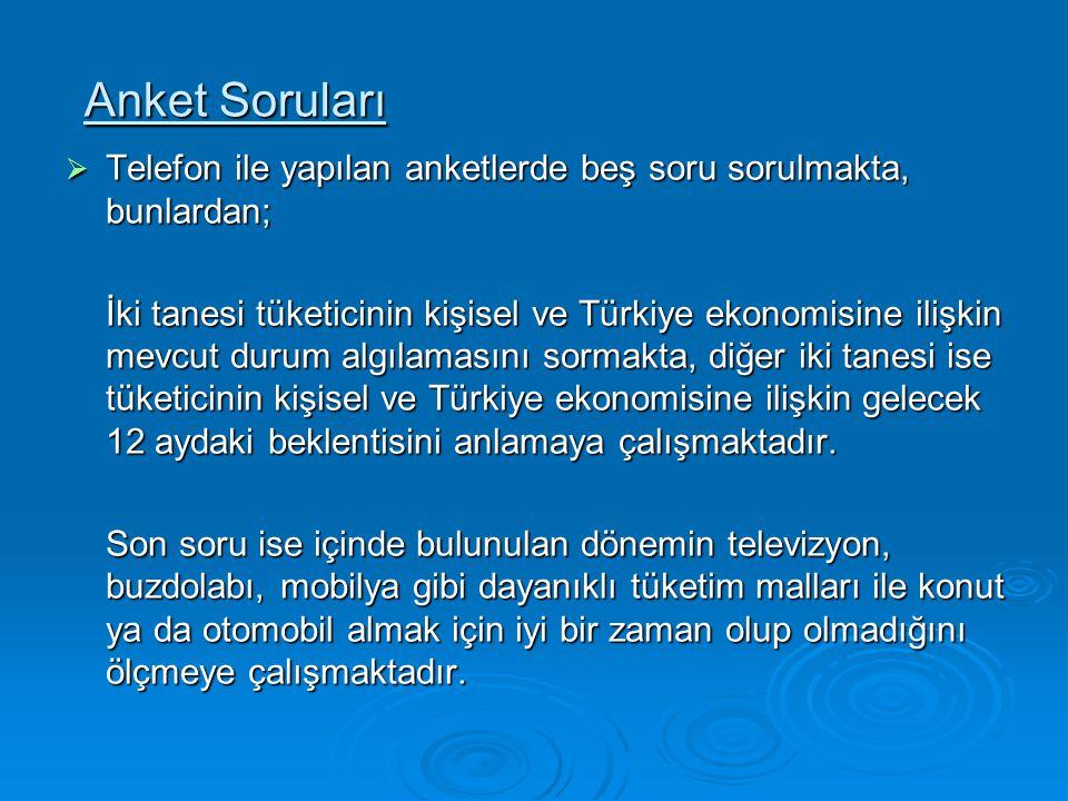 Anket Soruları  Telefon ile yapılan anketlerde beş soru sorulmakta, bunlardan; İki tanesi tüketicinin kişisel ve Türkiye ekonomisine ilişkin mevcut d
