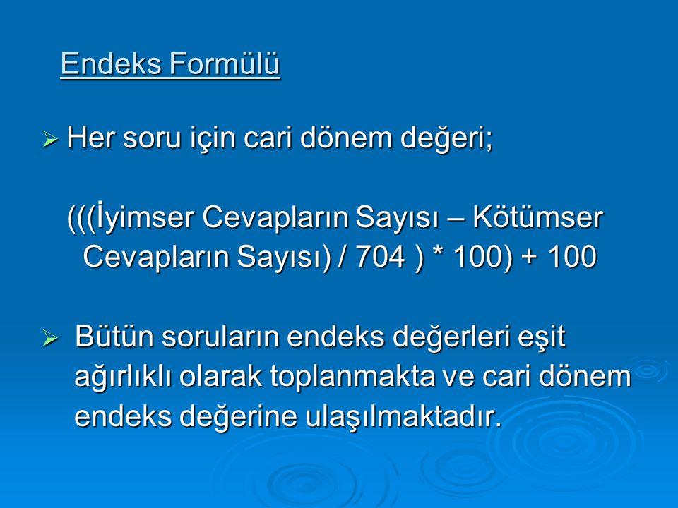 Endeks Formülü  Her soru için cari dönem değeri; (((İyimser Cevapların Sayısı – Kötümser Cevapların Sayısı) / 704 ) * 100) + 100 Cevapların Sayısı) /