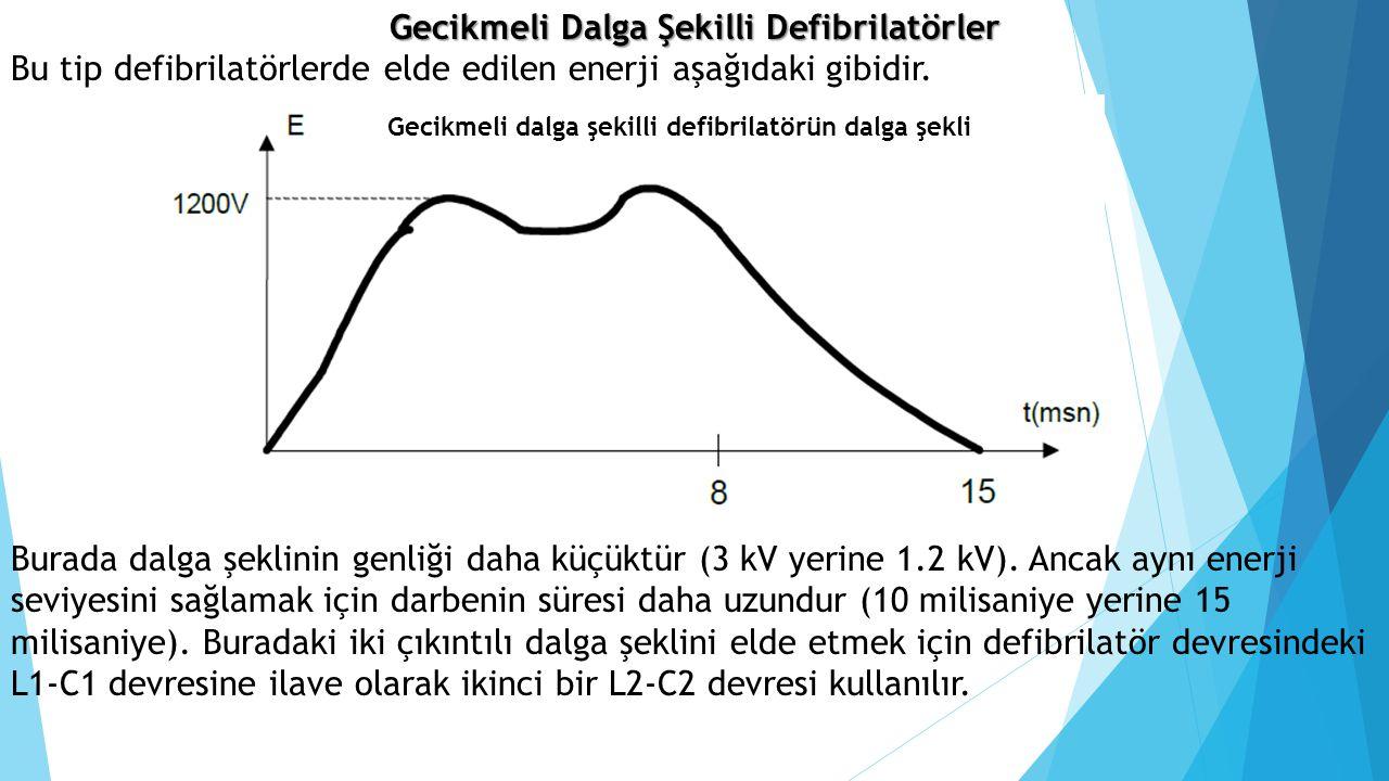 Gecikmeli Dalga Şekilli Defibrilatörler Bu tip defibrilatörlerde elde edilen enerji aşağıdaki gibidir. Gecikmeli dalga şekilli defibrilatörün dalga şe