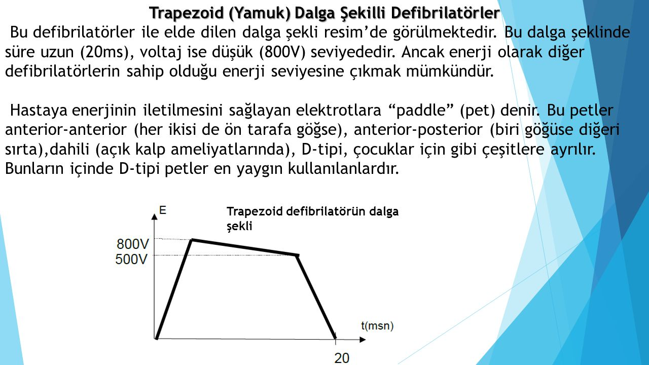Trapezoid (Yamuk) Dalga Şekilli Defibrilatörler Bu defibrilatörler ile elde dilen dalga şekli resim'de görülmektedir. Bu dalga şeklinde süre uzun (20m