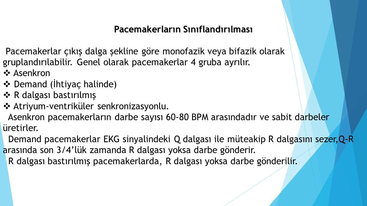 Pacemakerların Sınıflandırılması Pacemakerlar çıkış dalga şekline göre monofazik veya bifazik olarak gruplandırılabilir. Genel olarak pacemakerlar 4 g