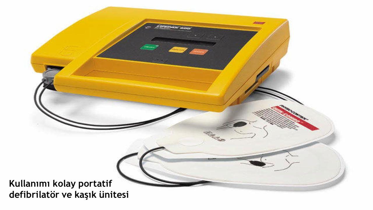 Kullanımı kolay portatif defibrilatör ve kaşık ünitesi