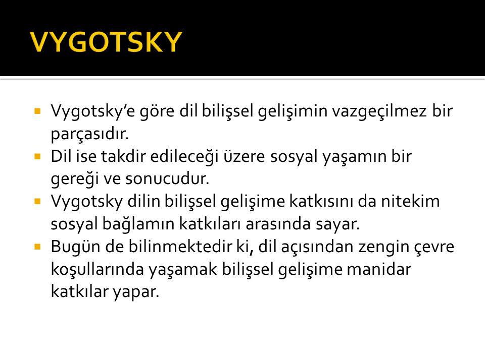  Vygotsky'e göre dil bilişsel gelişimin vazgeçilmez bir parçasıdır.  Dil ise takdir edileceği üzere sosyal yaşamın bir gereği ve sonucudur.  Vygots