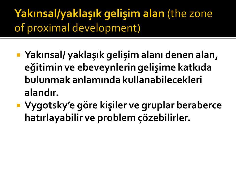  Yakınsal/ yaklaşık gelişim alanı denen alan, eğitimin ve ebeveynlerin gelişime katkıda bulunmak anlamında kullanabilecekleri alandır.  Vygotsky'e g