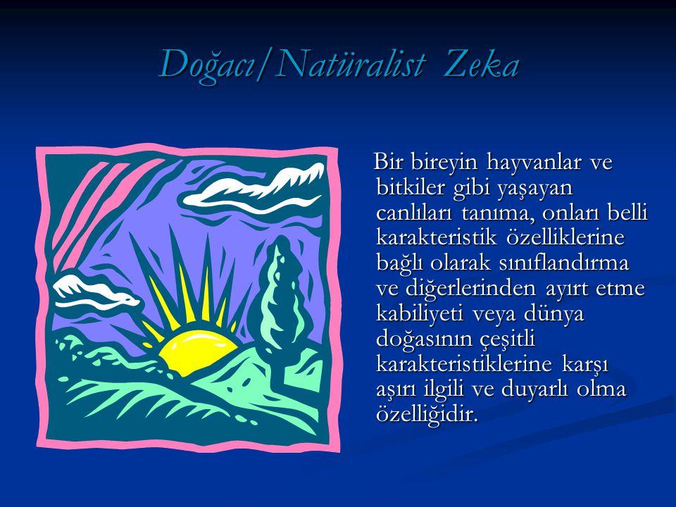 Doğacı/Natüralist Zekası Kuvvetli Olan Bireyler: Doğacı/Natüralist Zekası Kuvvetli Olan Bireyler: Doğal çevreyi gözlemler.