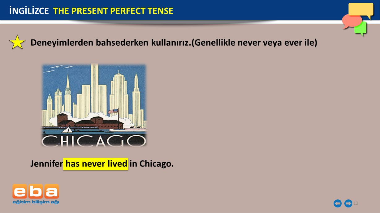 13 İNGİLİZCE THE PRESENT PERFECT TENSE Jennifer has never lived in Chicago.