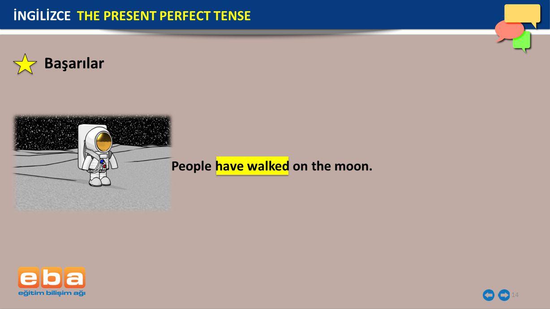 14 İNGİLİZCE THE PRESENT PERFECT TENSE People have walked on the moon. Başarılar