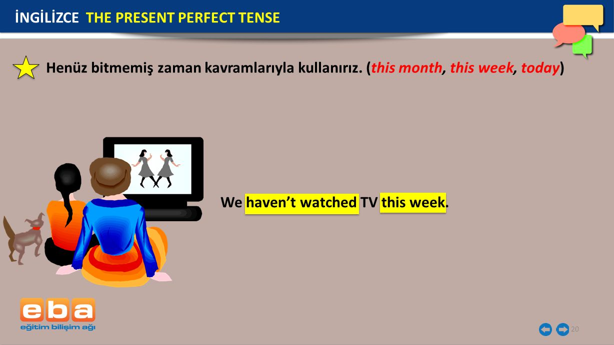20 İNGİLİZCE THE PRESENT PERFECT TENSE We haven't watched TV this week.
