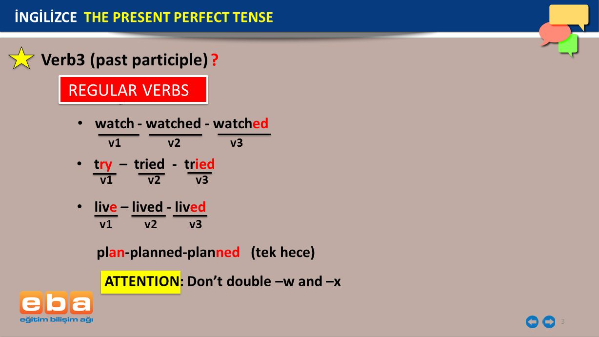 3 İNGİLİZCE THE PRESENT PERFECT TENSE Verb3 (past participle) Regular watch - watched - watched live – lived - lived try – tried - tried ATTENTION: Do