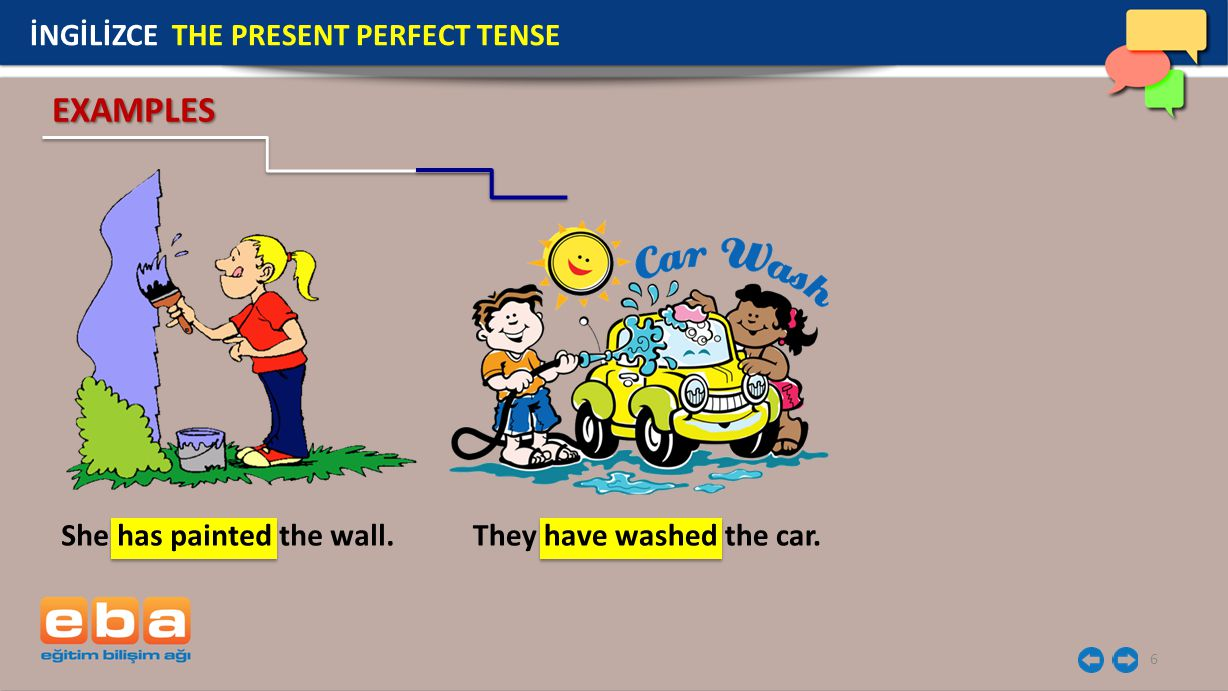 6 She has painted the wall. EXAMPLES İNGİLİZCE THE PRESENT PERFECT TENSE They have washed the car.