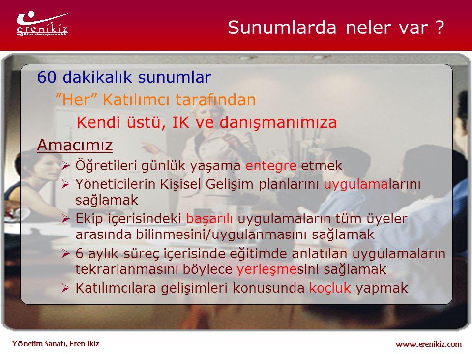 """www.erenikiz.com Yönetim Sanatı, Eren Ikiz 60 dakikalık sunumlar """"Her"""" Katılımcı tarafından Kendi üstü, IK ve danışmanımıza Amacımız  Öğretileri günl"""