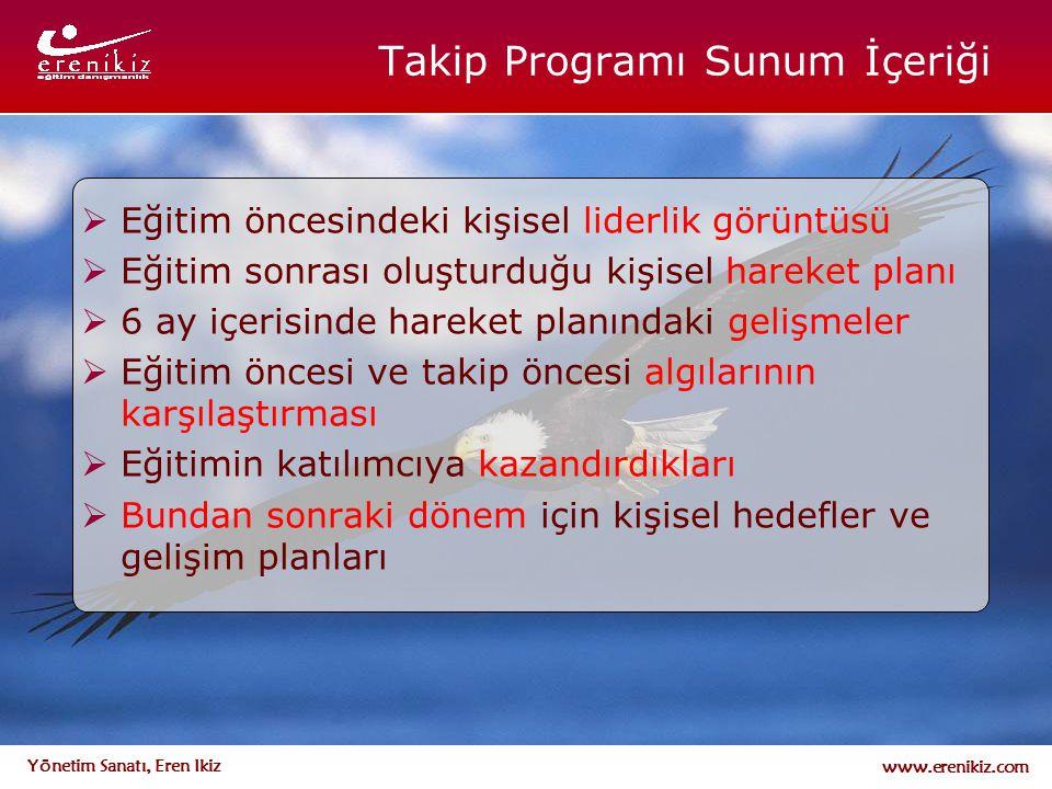 www.erenikiz.com Yönetim Sanatı, Eren Ikiz Takip Programı Sunum İçeriği  Eğitim öncesindeki kişisel liderlik görüntüsü  Eğitim sonrası oluşturduğu k