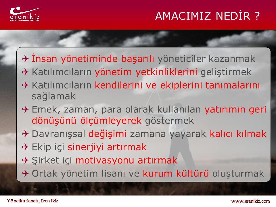 www.erenikiz.com Yönetim Sanatı, Eren Ikiz AMACIMIZ NEDİR ?  İnsan yönetiminde başarılı yöneticiler kazanmak  Katılımcıların yönetim yetkinliklerini