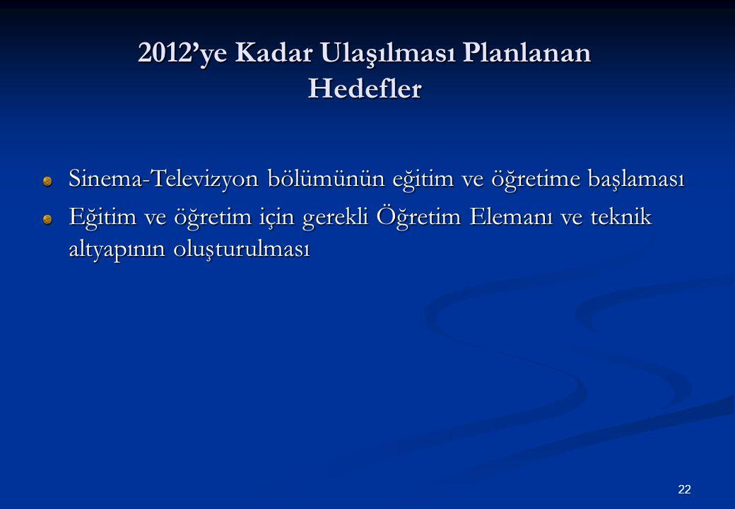 22 2012'ye Kadar Ulaşılması Planlanan Hedefler Sinema-Televizyon bölümünün eğitim ve öğretime başlaması Eğitim ve öğretim için gerekli Öğretim Elemanı ve teknik altyapının oluşturulması