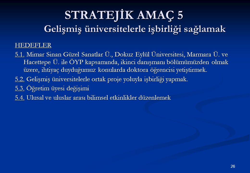 26 STRATEJİK AMAÇ 5 Gelişmiş üniversitelerle işbirliği sağlamak HEDEFLER 5.1.
