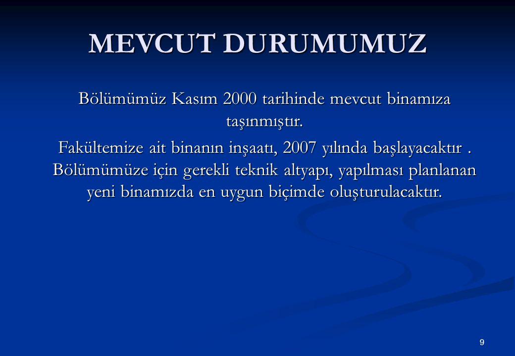 9 MEVCUT DURUMUMUZ Bölümümüz Kasım 2000 tarihinde mevcut binamıza taşınmıştır.