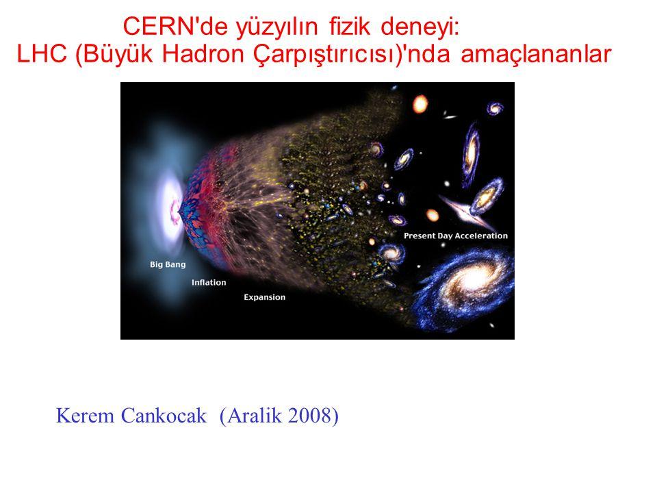 (Kerem Cankoçak, Aralık 2008) Evrenin kısa tarihi ve Büyük Birleşme Kuramları Uzay ve zaman ~ 13.7 milyar yıl önce, Büyük Patlama ile başladı dört temel kuvvet kütle çekim kuvveti, elektro-manyetik kuvvet, zayıf kuvvet güçlü kuvvet ilk nano saniyelerde hep bir aradaydılar.