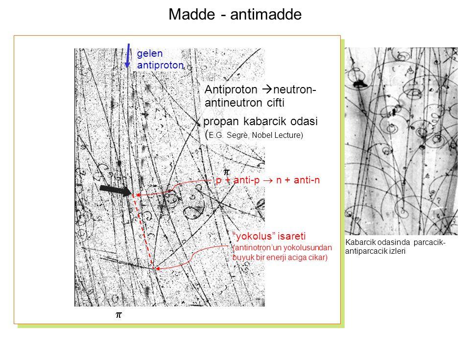 Madde - antimadde gelen antiproton yokolus isareti (antinotron'un yokolusundan buyuk bir enerji aciga cikar) Antiproton  neutron- antineutron cifti propan kabarcik odasi ( E.G.