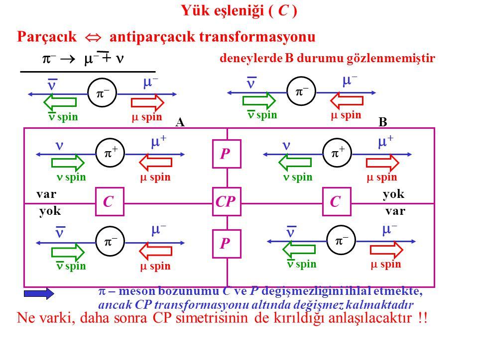Parçacık  antiparçacık transformasyonu  –   – +  –– spin ––  spin –– spin ––  spin deneylerde B durumu gözlenmemiştir ++ spin  