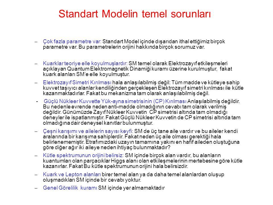 Standart Modelin temel sorunları – Çok fazla parametre var: Standart Model içinde dışarıdan ithal ettiğimiz birçok parametre var. Bu parametrelerin or