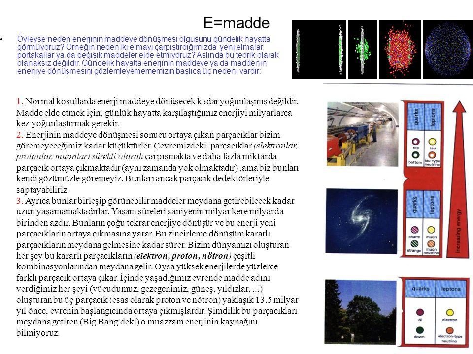 E=madde Öyleyse neden enerjinin maddeye dönüşmesi olgusunu gündelik hayatta görmüyoruz.