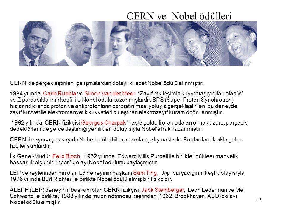 49 CERN ve Nobel ödülleri CERN de gerçekleştirilen çalışmalardan dolayı iki adet Nobel ödülü alınmıştır: 1984 yılında, Carlo Rubbia ve Simon Van der Meer Zayıf etkileşimin kuvvet taşıyıcıları olan W ve Z parçacıklarının keşfi ile Nobel ödülü kazanmışlardır.