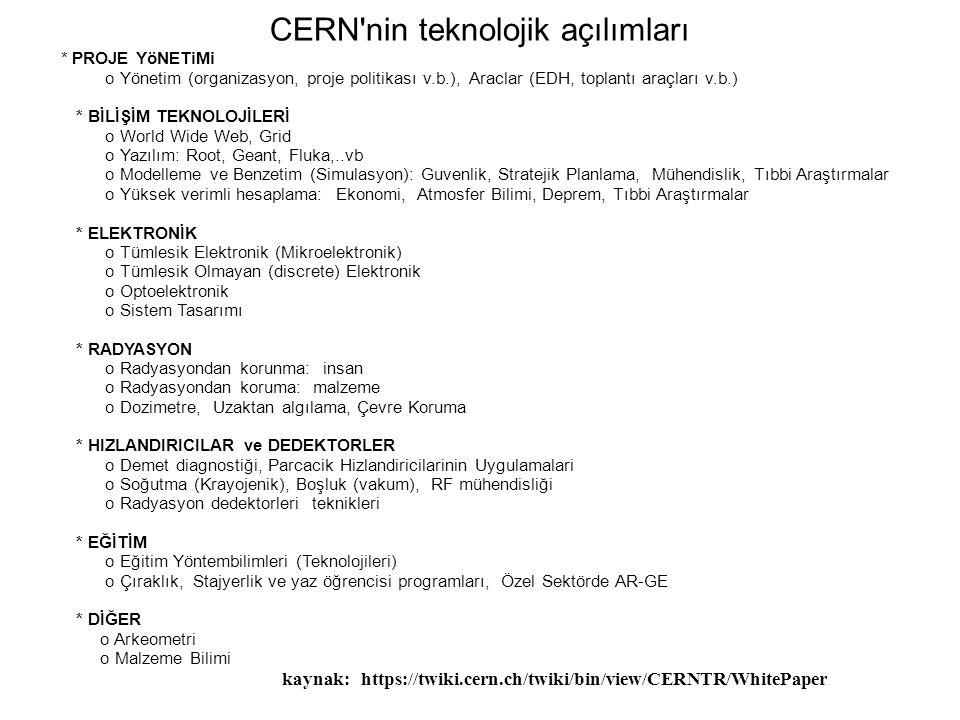 (Kerem Cankoçak, Aralık 2008) CERN nin teknolojik açılımları * PROJE YöNETiMi o Yönetim (organizasyon, proje politikası v.b.), Araclar (EDH, toplantı araçları v.b.) * BİLİŞİM TEKNOLOJİLERİ o World Wide Web, Grid o Yazılım: Root, Geant, Fluka,..vb o Modelleme ve Benzetim (Simulasyon): Guvenlik, Stratejik Planlama, Mühendislik, Tıbbi Araştırmalar o Yüksek verimli hesaplama: Ekonomi, Atmosfer Bilimi, Deprem, Tıbbi Araştırmalar * ELEKTRONİK o Tümlesik Elektronik (Mikroelektronik) o Tümlesik Olmayan (discrete) Elektronik o Optoelektronik o Sistem Tasarımı * RADYASYON o Radyasyondan korunma: insan o Radyasyondan koruma: malzeme o Dozimetre, Uzaktan algılama, Çevre Koruma * HIZLANDIRICILAR ve DEDEKTORLER o Demet diagnostiği, Parcacik Hizlandiricilarinin Uygulamalari o Soğutma (Krayojenik), Boşluk (vakum), RF mühendisliği o Radyasyon dedektorleri teknikleri * EĞİTİM o Eğitim Yöntembilimleri (Teknolojileri) o Çıraklık, Stajyerlik ve yaz öğrencisi programları, Özel Sektörde AR-GE * DİĞER o Arkeometri o Malzeme Bilimi kaynak: https://twiki.cern.ch/twiki/bin/view/CERNTR/WhitePaper
