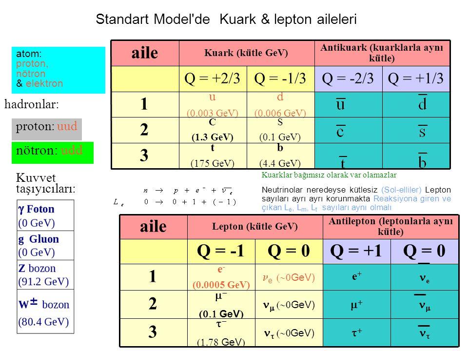 Standart Model de Kuark & lepton aileleri 3 2 1 aile b (4.4 GeV) t (175 GeV) S (0.1 GeV) C (1.3 GeV) d (0.006 GeV) u (0.003 GeV) Q = +1/3Q = -2/3Q = -1/3Q = +2/3 Antikuark (kuarklarla aynı kütle) Kuark (kütle GeV) 3 2 1 aile      GeV)    GeV        GeV)    GeV   e e+e+ e   GeV) e - (0.0005 GeV) Q = 0Q = +1Q = 0Q = -1 Antilepton (leptonlarla aynı kütle) Lepton (kütle GeV) proton: uud nötron: udd atom: proton, nötron & elektron Kuvvet taşıyıcıları: hadronlar: Neutrinolar neredeyse kütlesiz (Sol-elliler) Lepton sayıları ayrı ayrı korunmakta Reaksiyona giren ve çıkan L e, L m, L t sayıları aynı olmalı Kuarklar bağımsız olarak var olamazlar