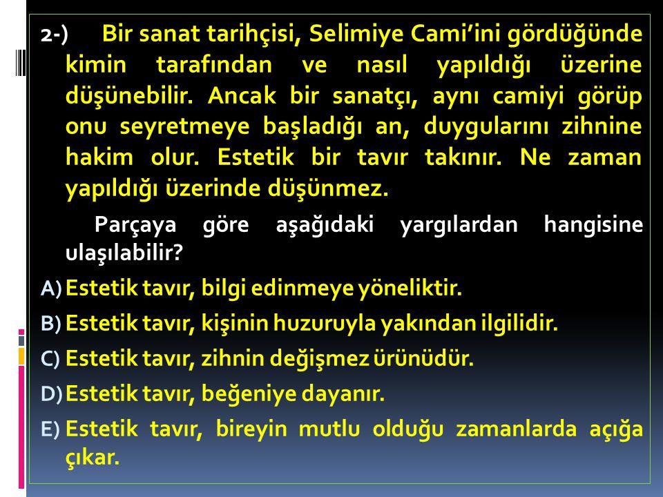 2-) Bir sanat tarihçisi, Selimiye Cami'ini gördüğünde kimin tarafından ve nasıl yapıldığı üzerine düşünebilir.
