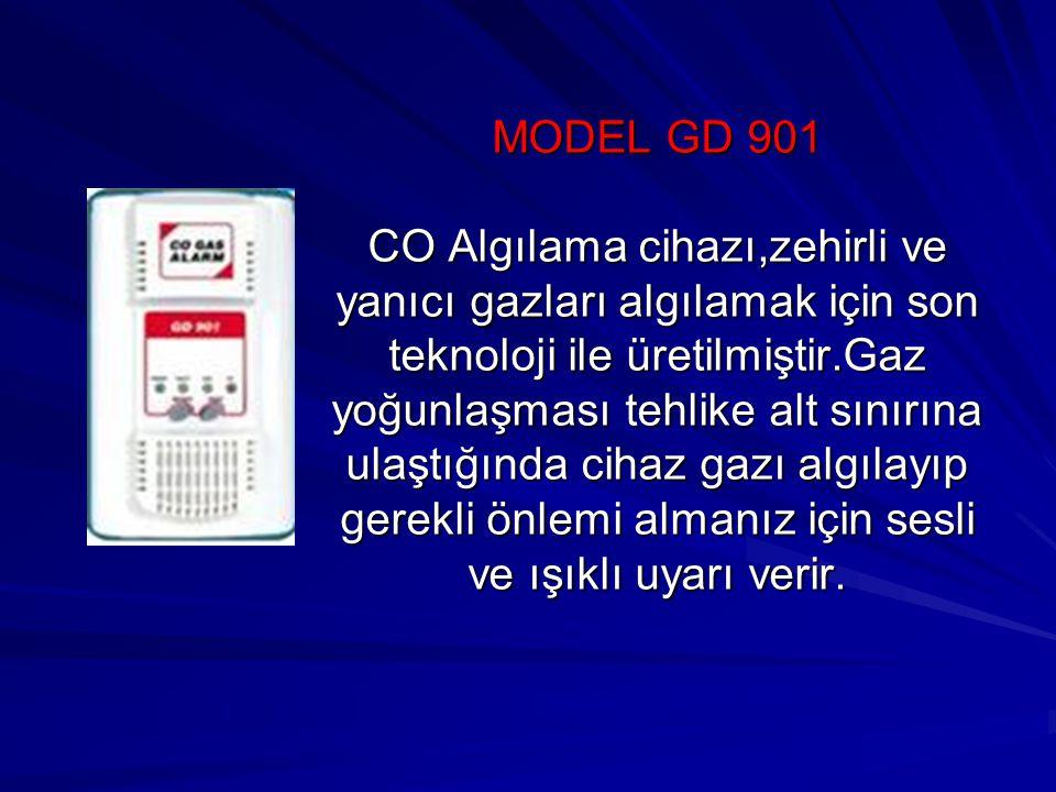 MODEL GD 901 CO Algılama cihazı,zehirli ve yanıcı gazları algılamak için son teknoloji ile üretilmiştir.Gaz yoğunlaşması tehlike alt sınırına ulaştığında cihaz gazı algılayıp gerekli önlemi almanız için sesli ve ışıklı uyarı verir.