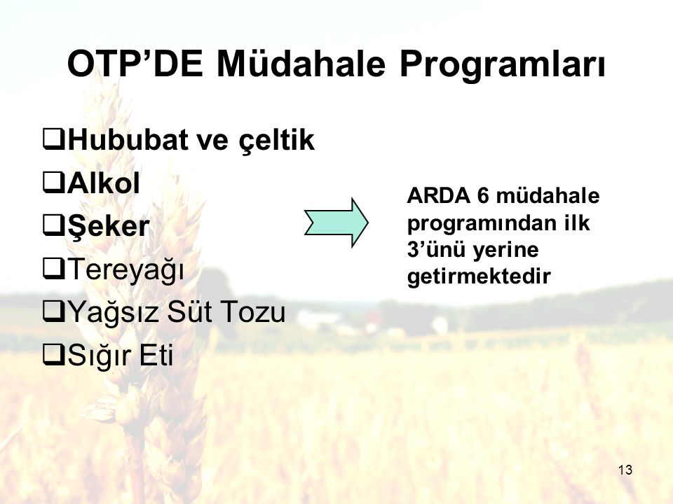 13  Hububat ve çeltik  Alkol  Şeker  Tereyağı  Yağsız Süt Tozu  Sığır Eti OTP'DE Müdahale Programları ARDA 6 müdahale programından ilk 3'ünü yerine getirmektedir